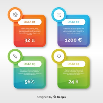 Fond plat infographique coloré