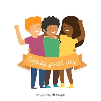 Fond plat de la jeunesse avec les jeunes