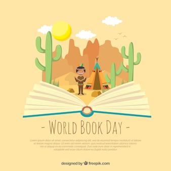 Fond plat de jour du livre mondial