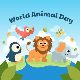 Fond plat de la journée mondiale des animaux