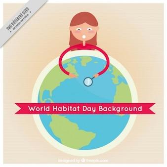 Fond plat de la journée mondiale de l'habitat