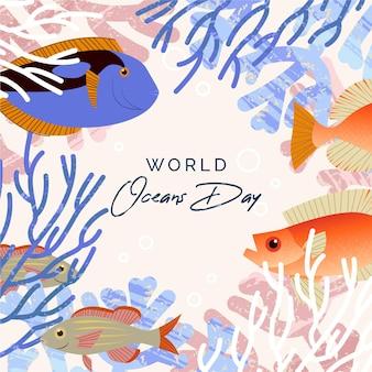 Fond plat de la journée mondiale des océans