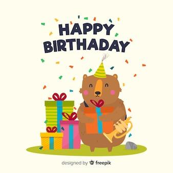 Fond plat joyeux anniversaire avec un ours