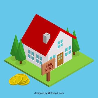 Fond plat avec une maison à louer