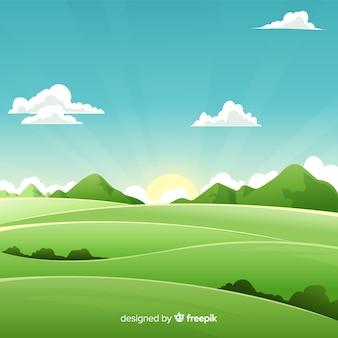 Fond Plat Naturel Avec Paysage Vecteur Premium