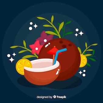 Fond plat de noix de coco