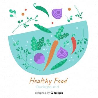 Fond plat de nourriture saine