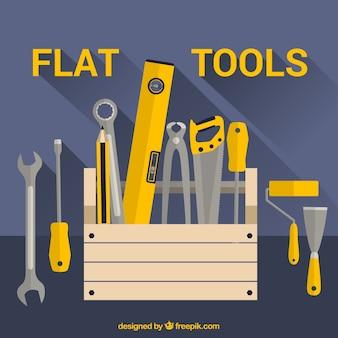 Fond plat sur les outils de menuiserie