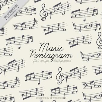 Fond plat avec pentagrammes de musique