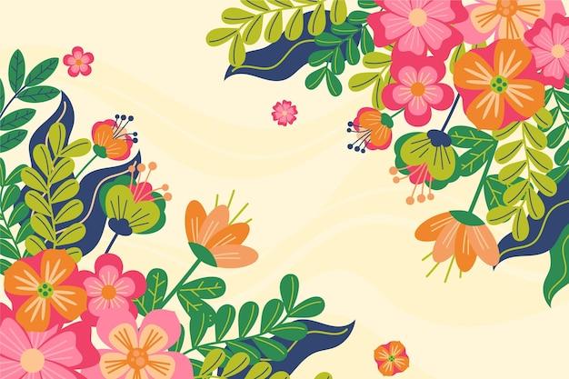 Fond plat de printemps coloré