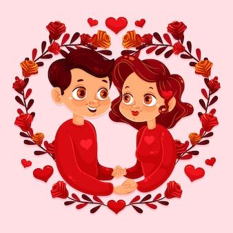 Fond plat de la saint-valentin avec un couple se tenant la main