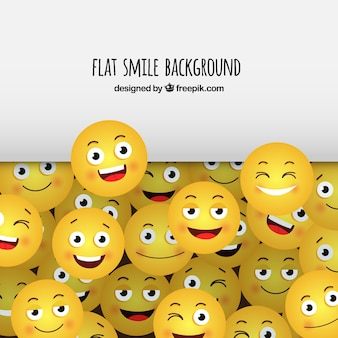 Fond plat avec des smileys jaunes