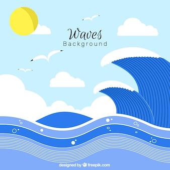 Fond plat avec des vagues et des mouettes