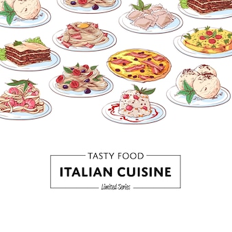 Fond de plats de cuisine nationale italienne