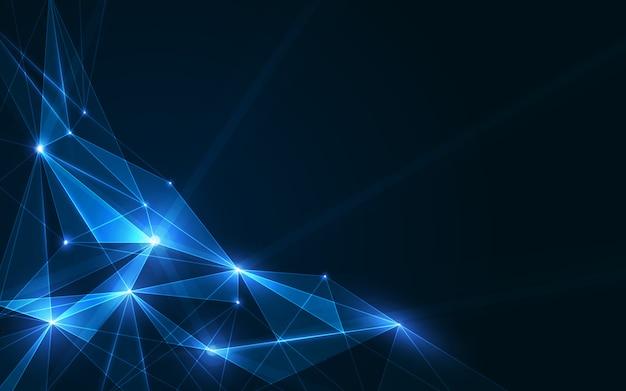 Fond de plexus de polygones connectés, visualisation de données numériques. illustration