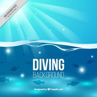 Fond plongée sous-marine avec des poissons et du soleil