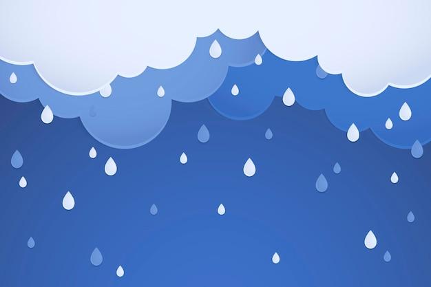 Fond de pluie, vecteur de conception de papier pastel découpé