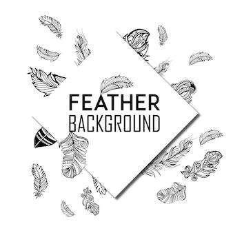 Fond de plumes noir et blanc dessiné à la main