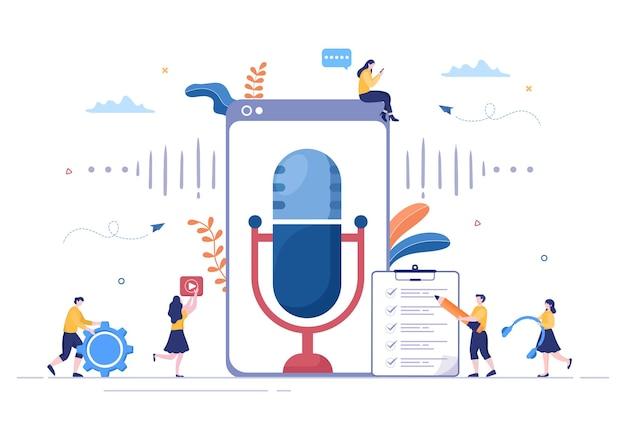 Fond de podcast illustration vectorielle personnes utilisant un casque pour enregistrer de l'audio, un hôte interviewant un invité ou une émission en ligne avec un équipement d'enregistrement sonore et un concept de microphone