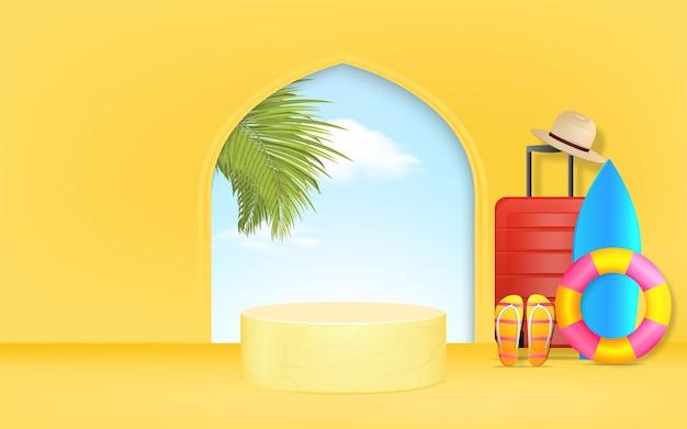 Fond de podium géométrique minimal avec bannière d'annonces d'été de feuilles de palmier pour la promotion