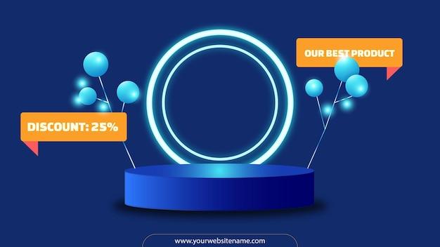 Fond de podium ou de piédestal avec anneau lumineux pour vitrine de produits