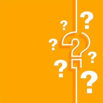 Fond de point d'interrogation orange avec espace de texte