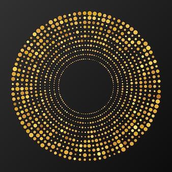Fond pointillé de demi-teinte rougeoyante abstraite d'or. motif de paillettes d'or en forme de cercle. encerclez les points de demi-teintes. illustration vectorielle
