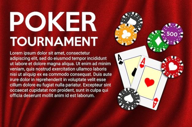 Fond de poker en tissu rouge avec des as et des jetons de poker.