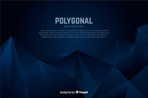 Fond polygonale bleu foncé