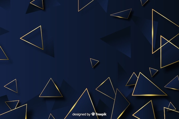 Fond polygonale élégant noir et or