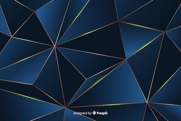 Fond polygonale foncé élégant, couleur bleue