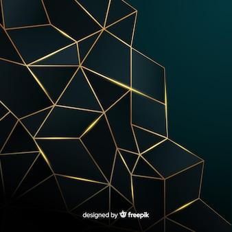 Fond polygonale sombre et doré
