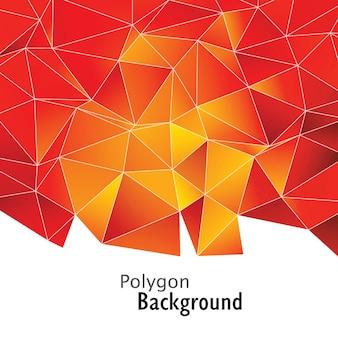Fond de polygone rouge doré
