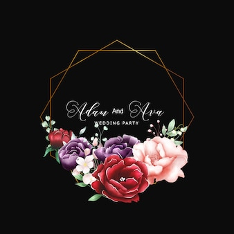 Fond polyvalent aquarelle cadre floral