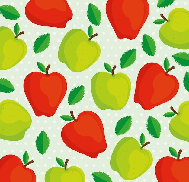 Fond de pommes vertes et rouges
