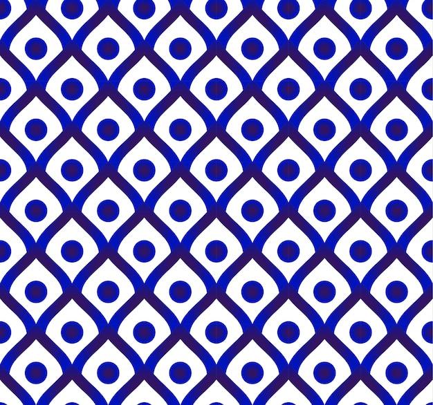 Fond de porcelaine mignonne, motif thaïlandais en céramique, décor moderne bleu et blanc