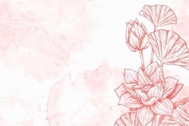 Fond de poudre pastel floral dessiné à la main