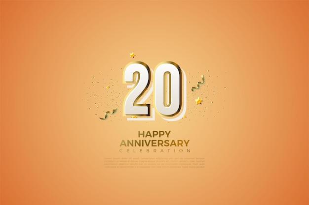 Fond pour le 20e anivversaire avec chiffres en relief et rayures dorées