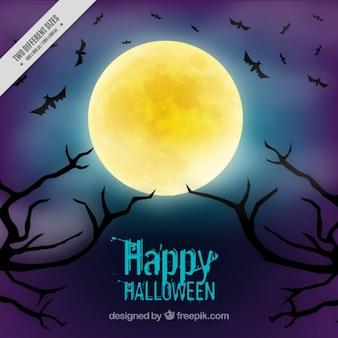 Fond pour halloween avec une pleine lune