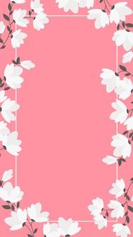 Fond pour mobile avec fleurs blanches et cadre