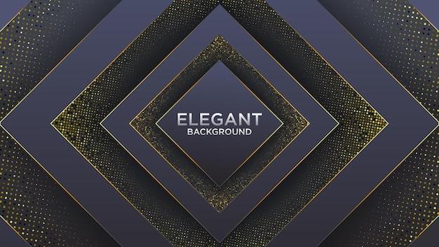Fond premium noir foncé avec motif polygonal de luxe et lignes triangulaires dorées