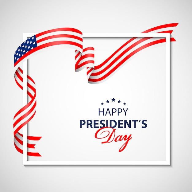 Fond de présidents heureux avec cadre blanc et drapeau usa.