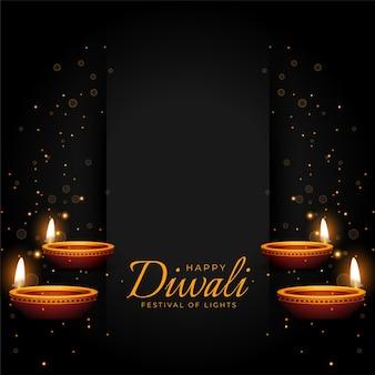 Fond de prime noir heureux diwali avec diya rougeoyant