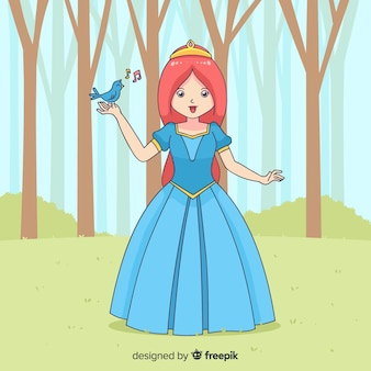 Fond de princesse dessiné à la main