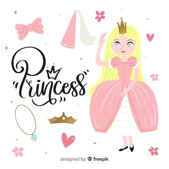 Fond de princesse et d'objets dessinés à la main