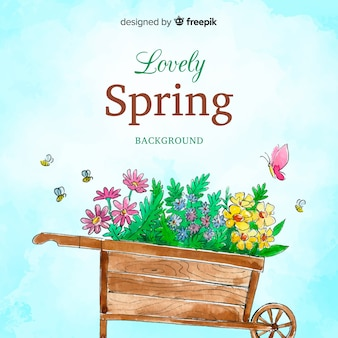 Fond de printemps aquarelle brouette