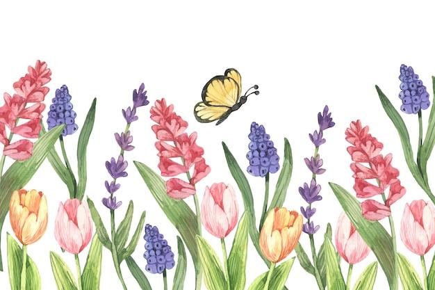 Fond de printemps aquarelle avec des fleurs