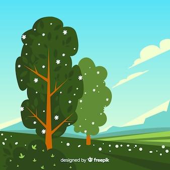 Fond de printemps arbre dessiné à la main
