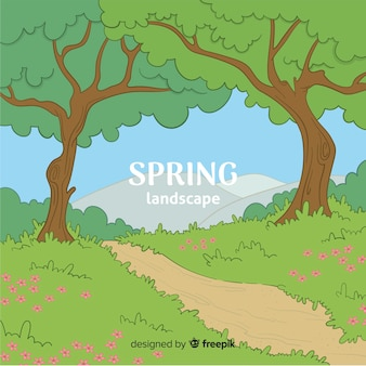 Fond de printemps chemin dessiné à la main