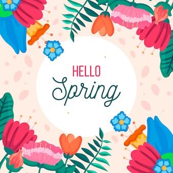 Fond de printemps coloré avec assortiment de fleurs colorées
